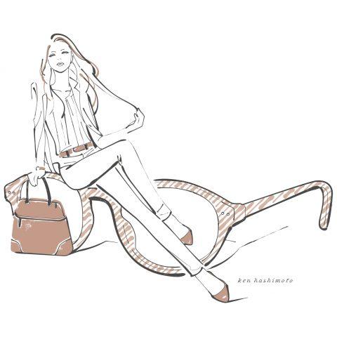 眼鏡とスーツ姿の女性イラスト