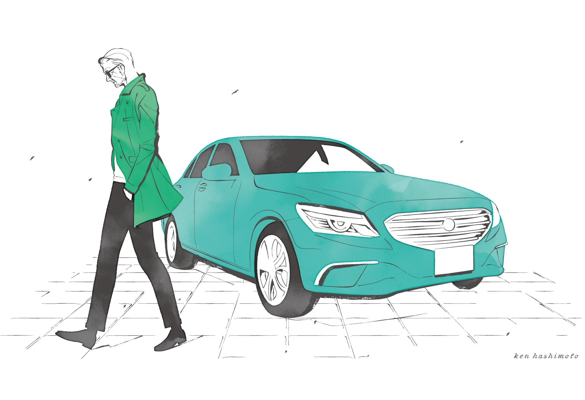 中年男性と車イラスト