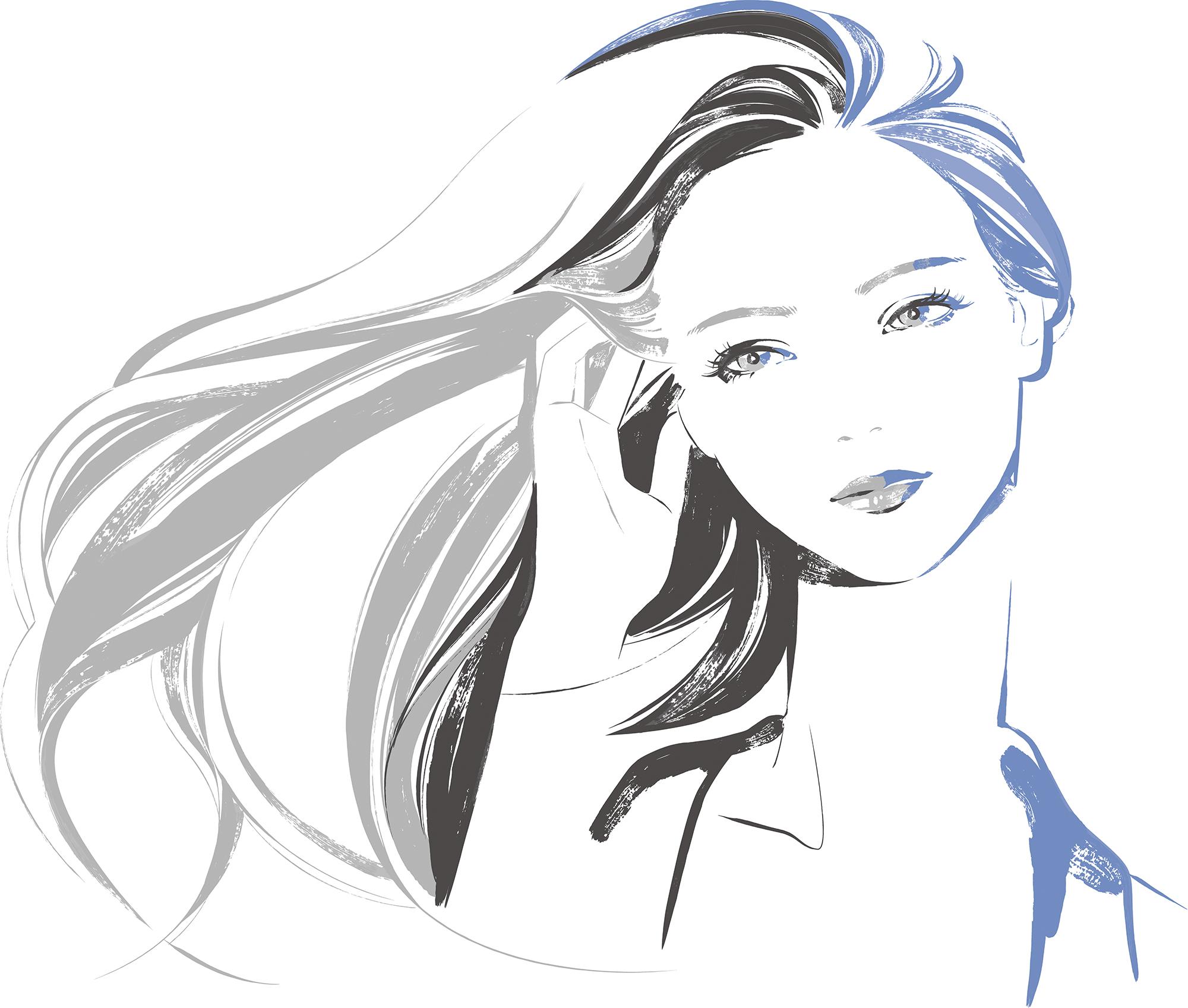 風になびく美しい髪の女性イラスト
