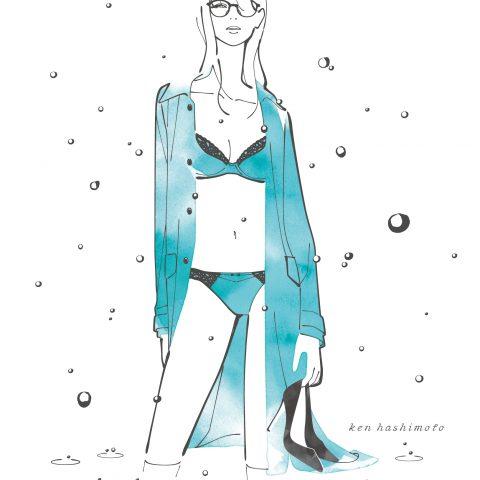 冬の雨とコート姿の女性イラスト