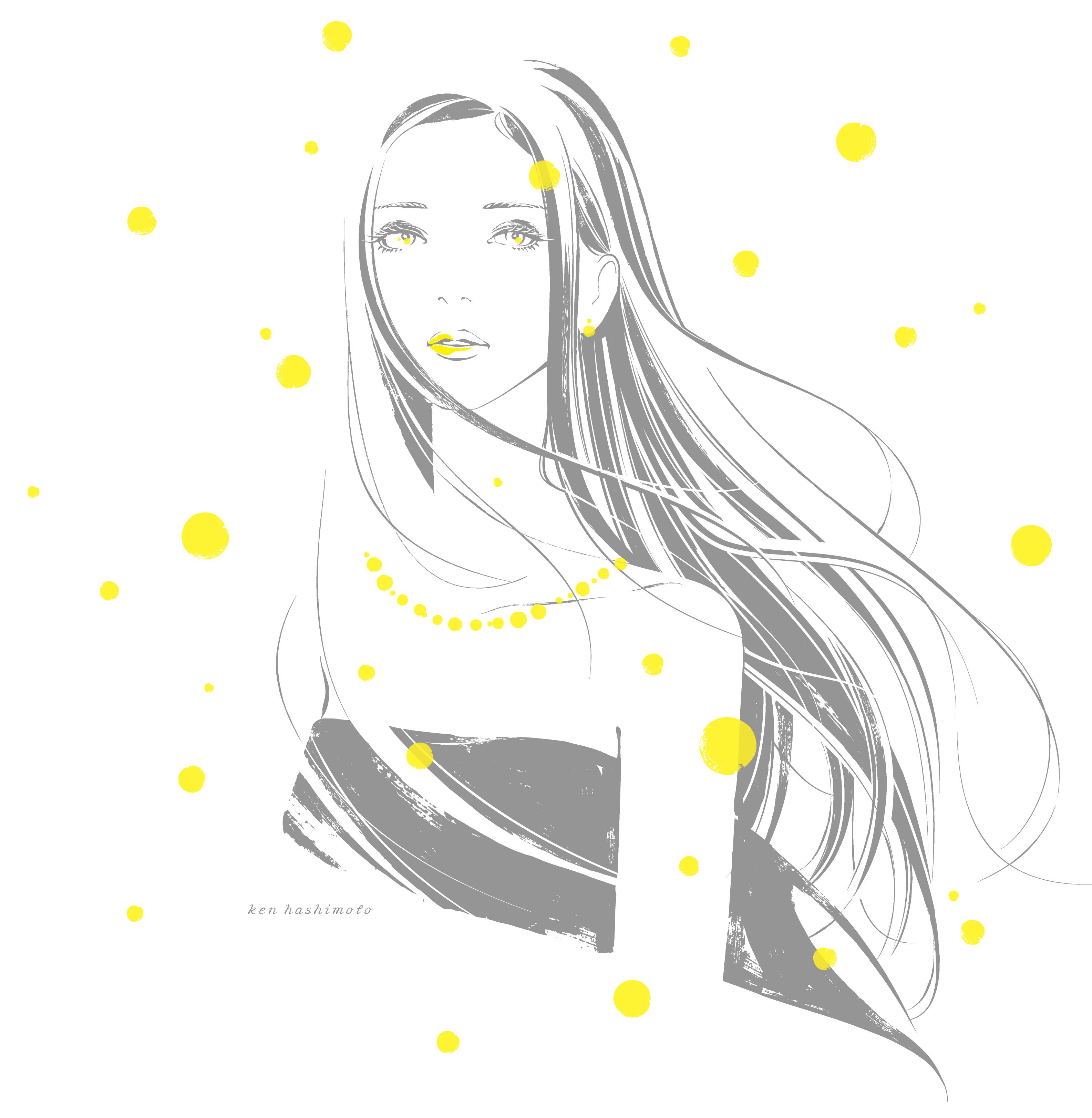 小さな光と女性イラスト
