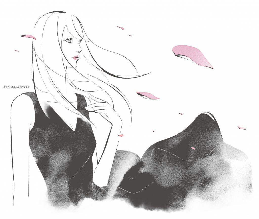 舞う花と女性イラスト
