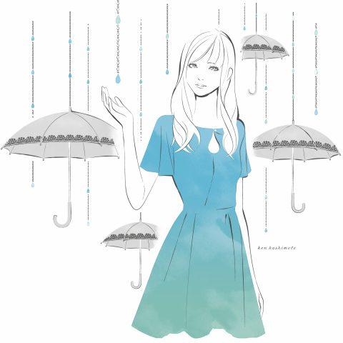 雨粒と女性イラスト