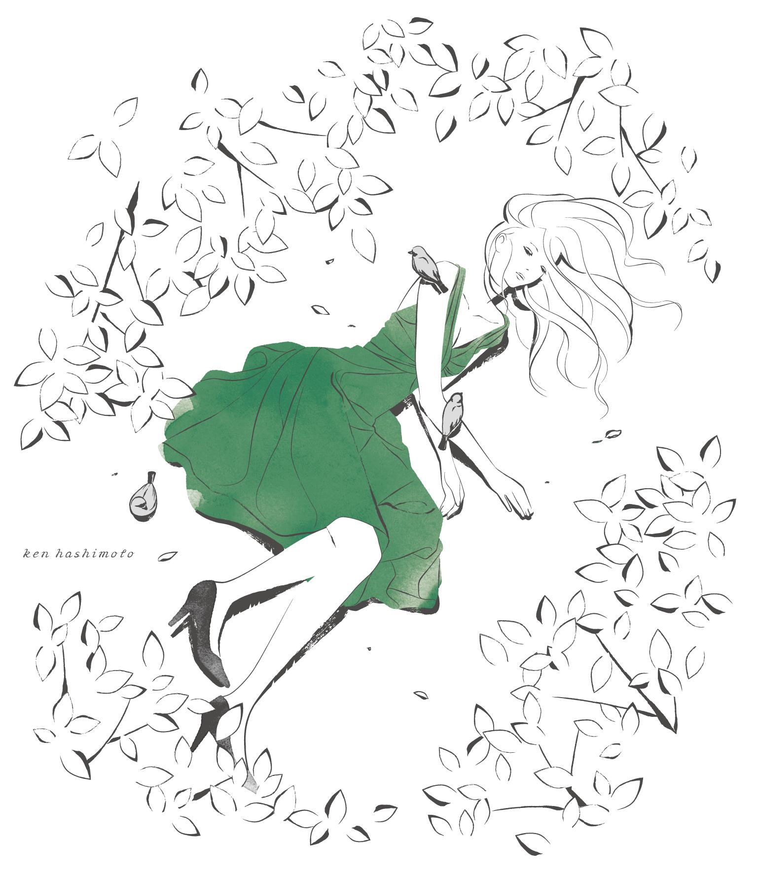木陰に横たわる女性イラスト
