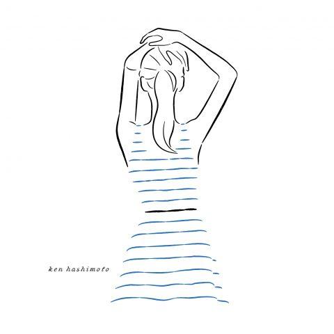 青いボーダー柄ワンピの女性イラスト