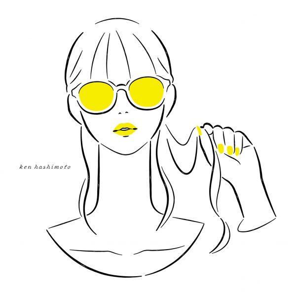 サングラスをかけた女性イラスト
