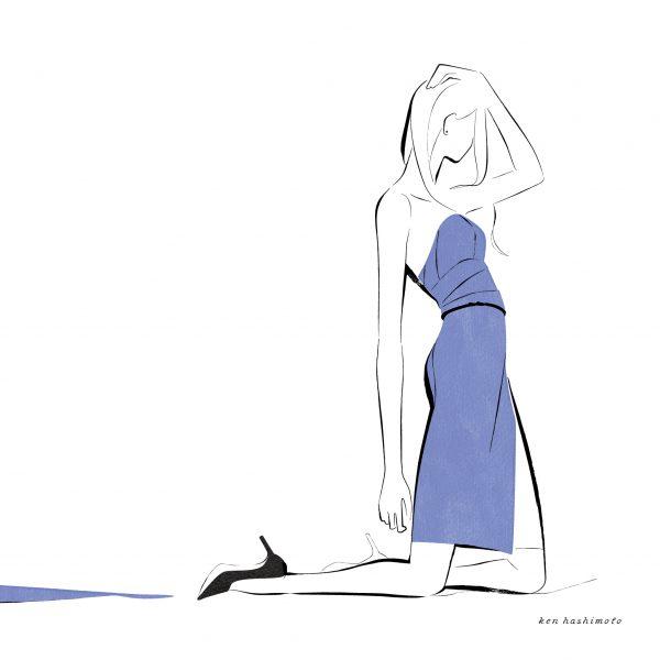 ブルーの女性 ファッションイラスト