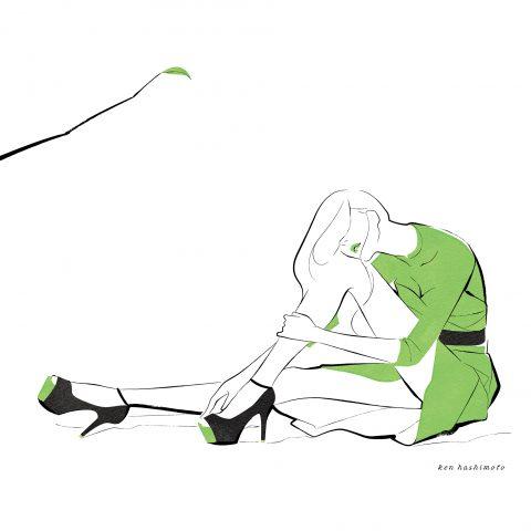 グリーンの女性 ファッションイラスト