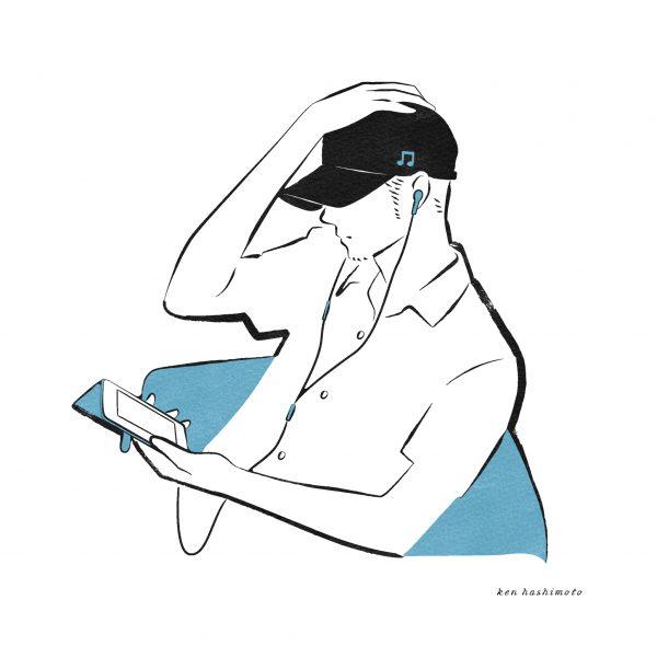 スマホで音楽を聴く男性イラスト