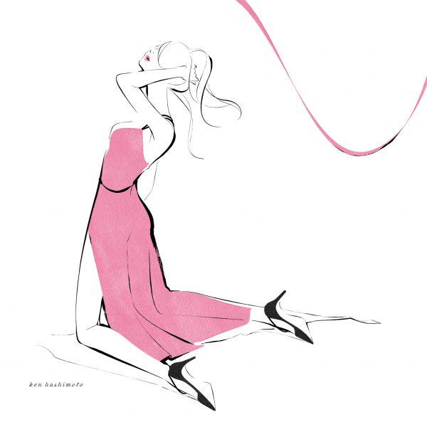 ピンクの女性 ファッションイラスト