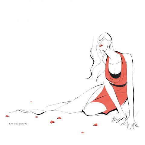レッドの女性 ファッションイラスト
