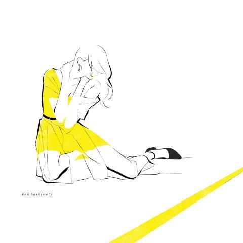 イエローの女性 ファッションイラスト