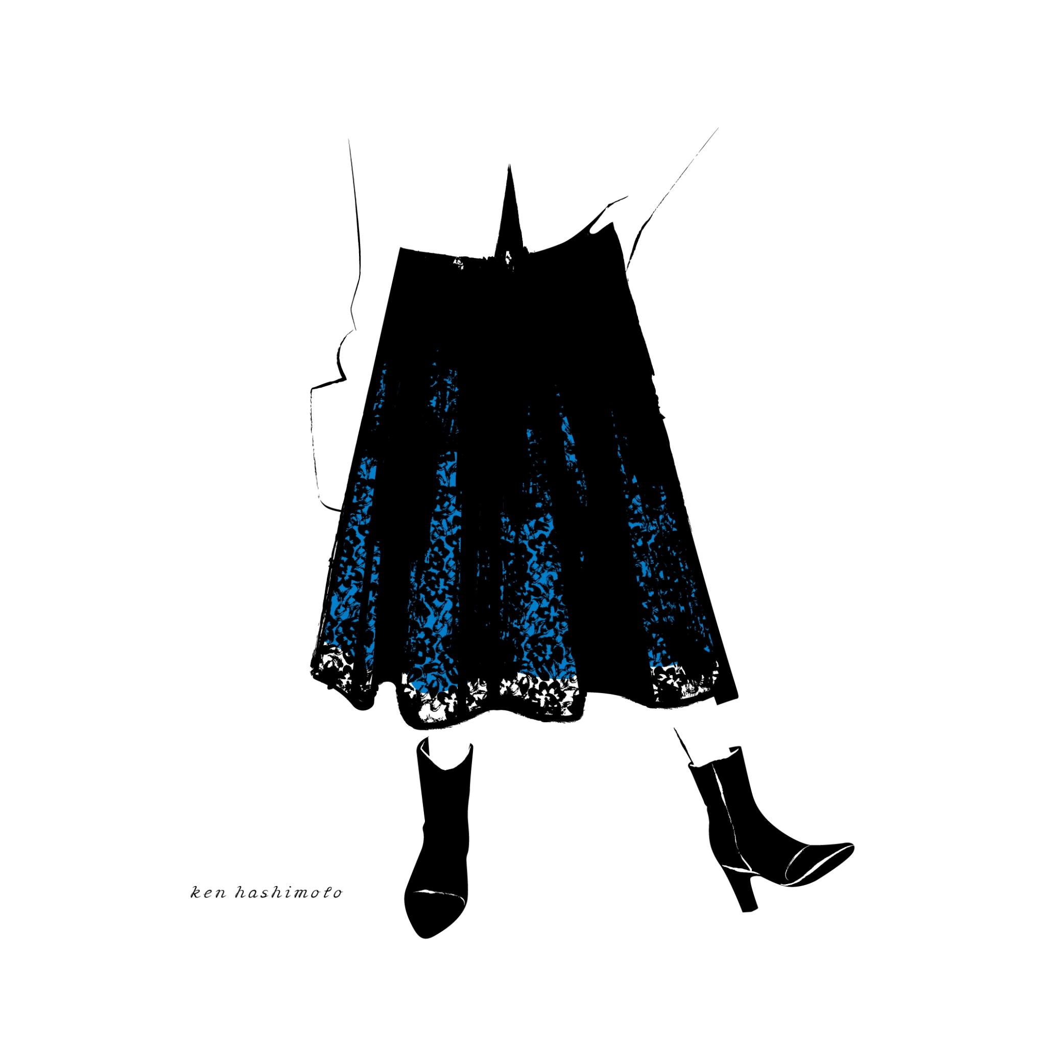 黒いレーススカートファッションイラスト