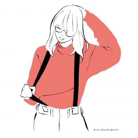 サスペンダーの女性ファッションイラスト