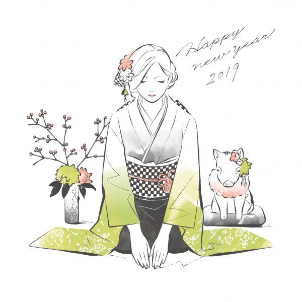 新春の挨拶をするうり坊と振袖女性イラスト