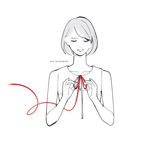 蝶々結びをする女性イラスト