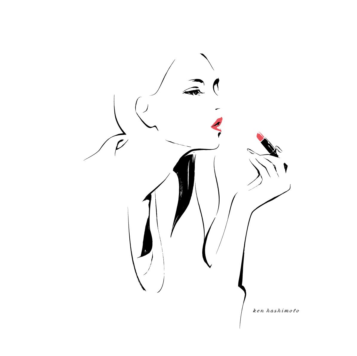 リップを塗る左利きの女性イラスト