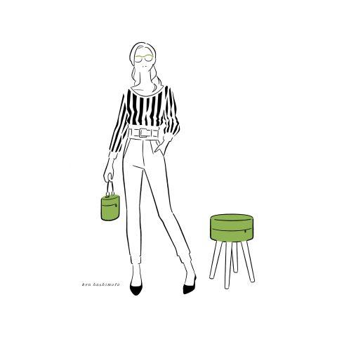 スツールとバッグと女性イラスト