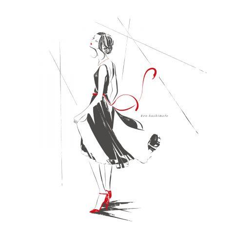 スポットライトを浴びる女性イラスト