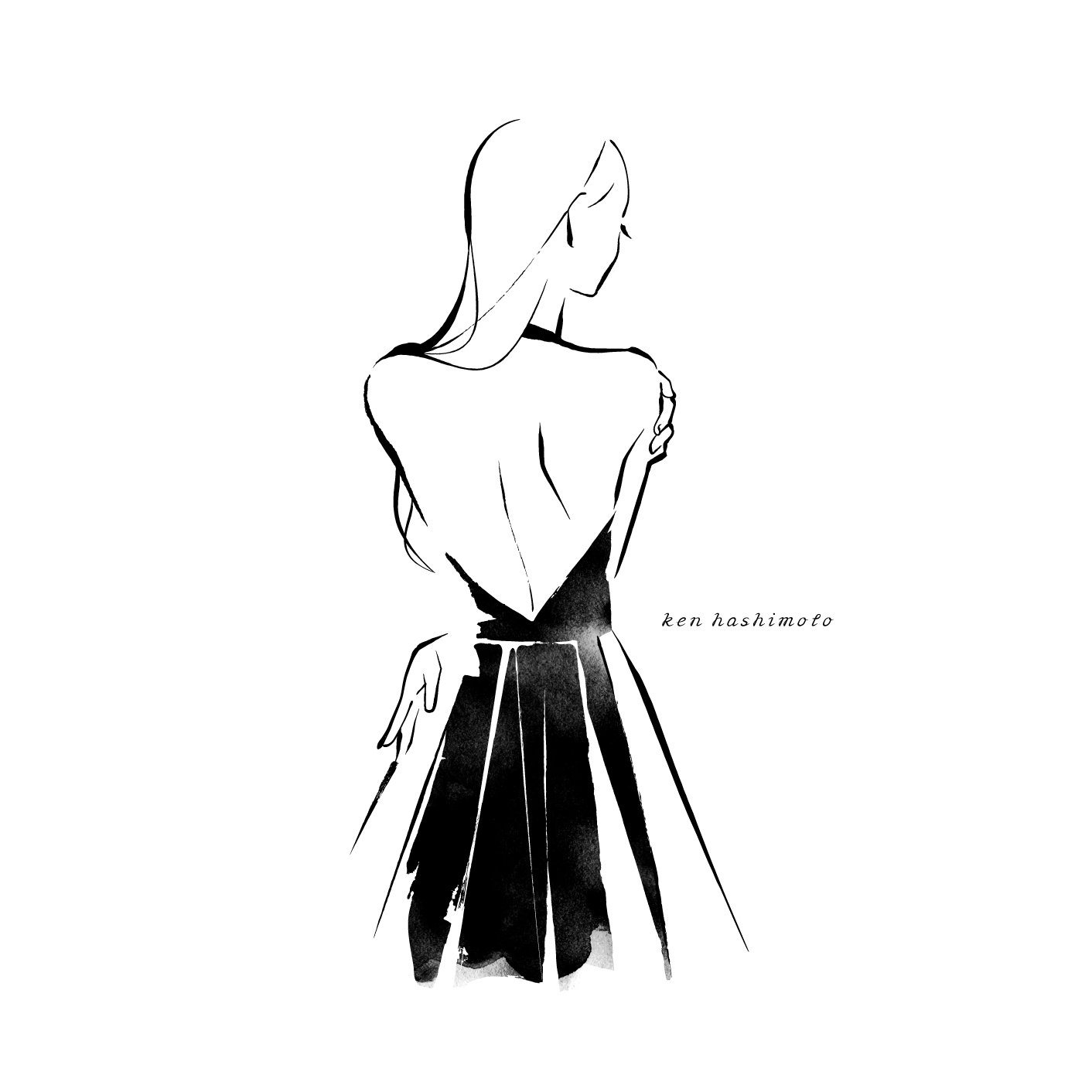 オープンバックドレスの女性イラスト
