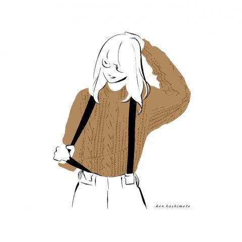サスペンダーとニットセーターの女性イラスト