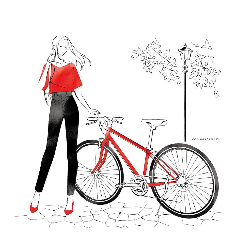 赤い自転車と女性イラスト