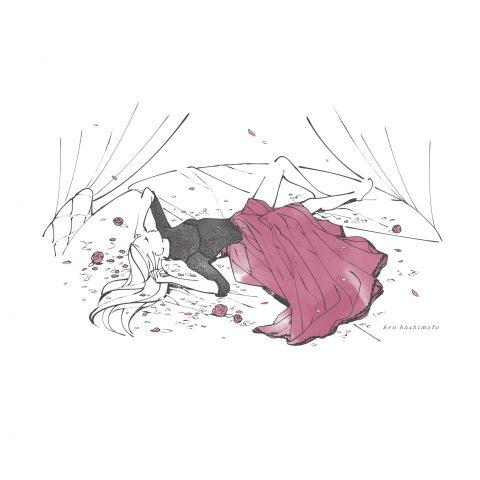 ベッドに横たわるドレス姿の女性イラスト