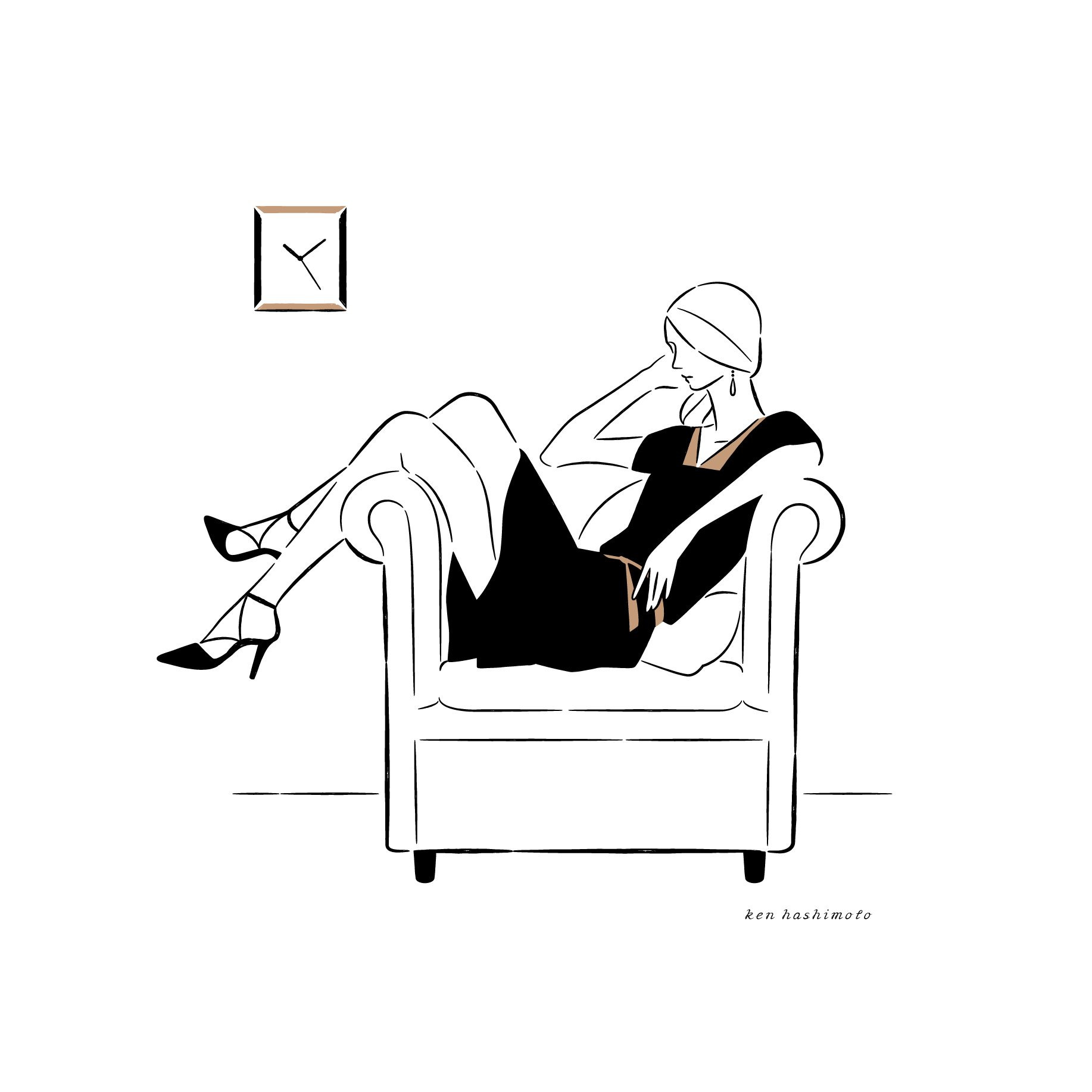 時計とソファと女性 ファッションイラスト