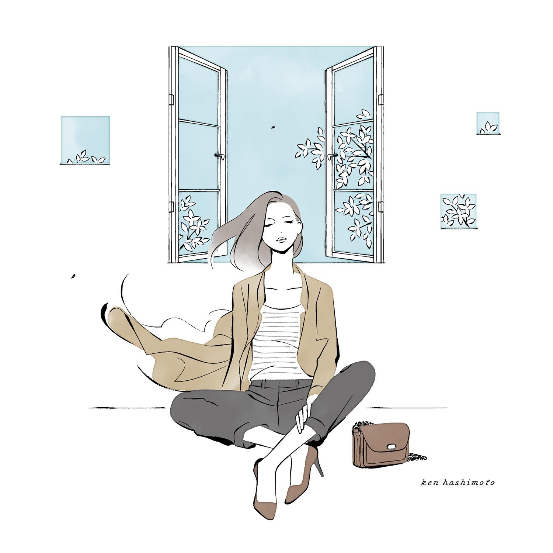 窓際の女性と秋風イラスト