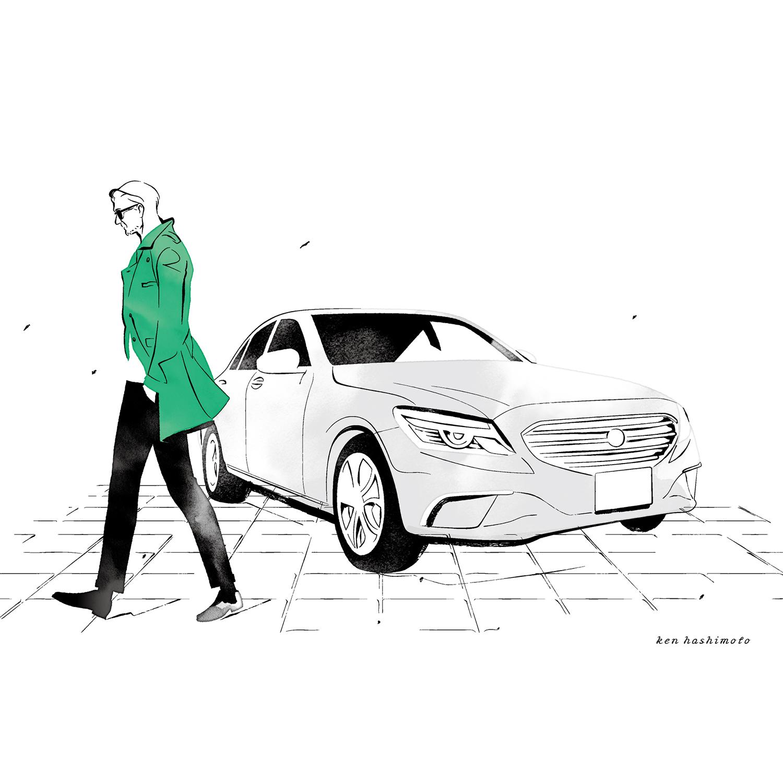 歩く中年男性と車イラスト