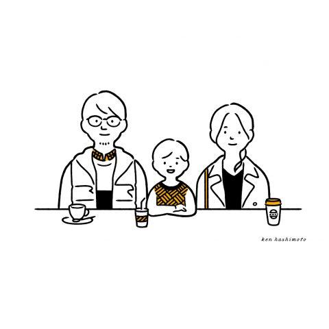 3人家族イラスト