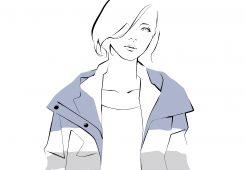 – イラスト紹介 –  スポーティなナイロンアウターの女性  ファッションイラスト