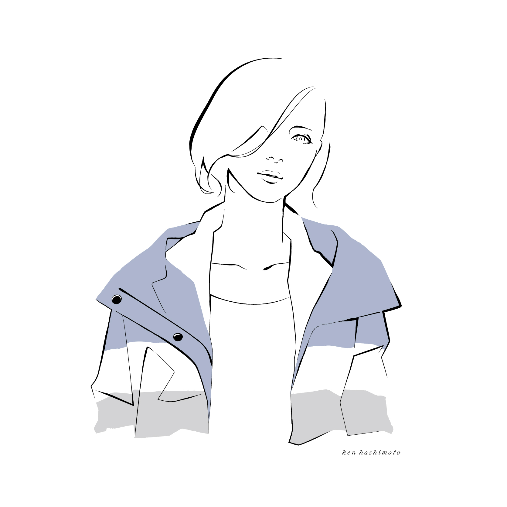 スポーティなナイロンアウターの女性ファッションイラスト