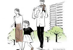 – イラスト紹介 –  散歩する4人家族のイラスト