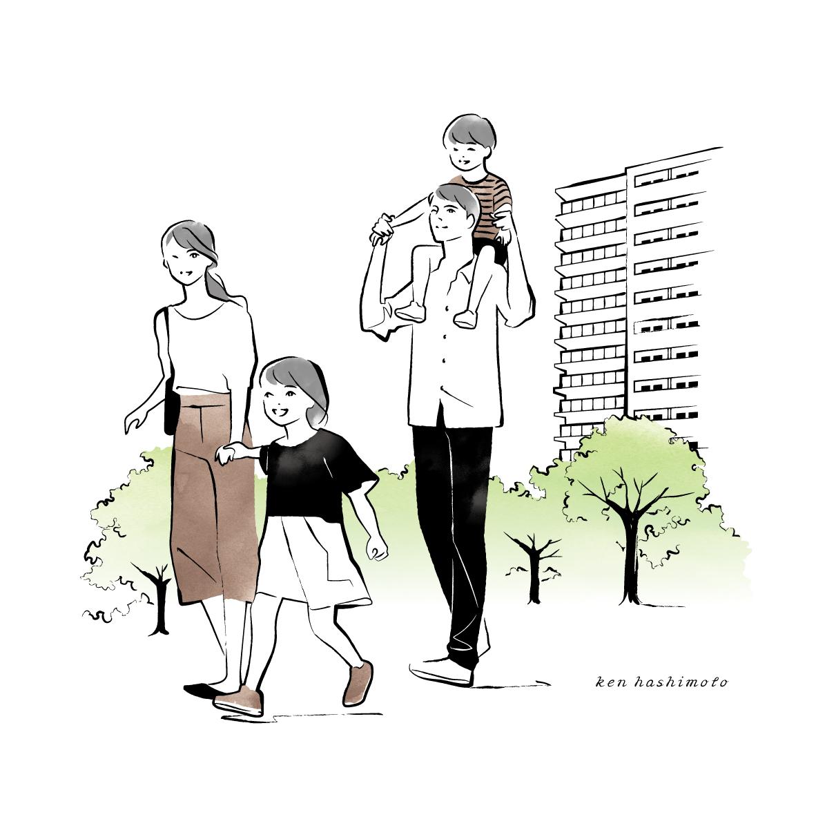 散歩する4人家族イラスト