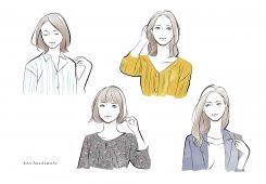– イラスト紹介 –  フェイスタイプ別 4人の女性イラスト