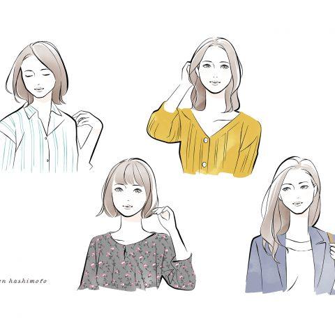 フェイスタイプ別 4人の女性イラスト