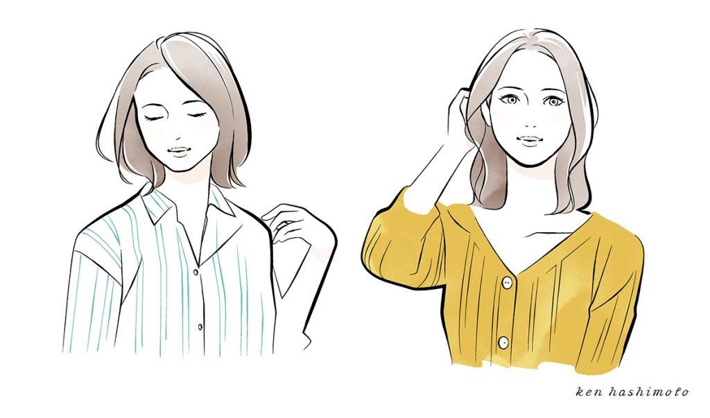 フェイスタイプ別 4人の女性イラスト2